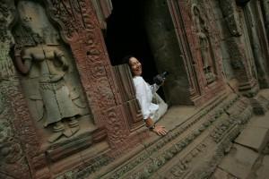 Eva Grodberg at Ta Phrom, Angkor complex, Siem Reap Cambodia