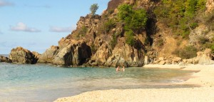couple in the water at Shell Beach, St Barth