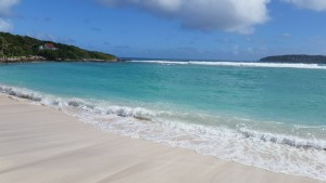 White sand, blue water, beach shot St Barth