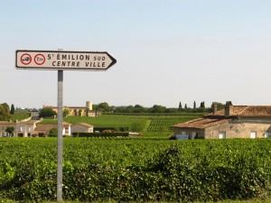 St Emilion sign and vineyards