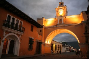 Antigua Guatemala arch at night