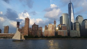 Lower Manhattan with sailboat and 1 World Trade Center