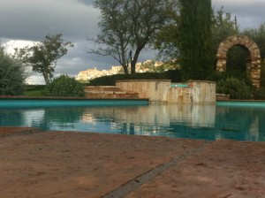 Pool area of Montepulciano's Relais Ortaglia