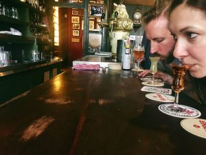 Honeymoon couple in Amsterdam bar