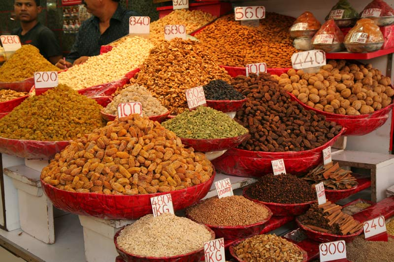 Colorful piles of spices in India