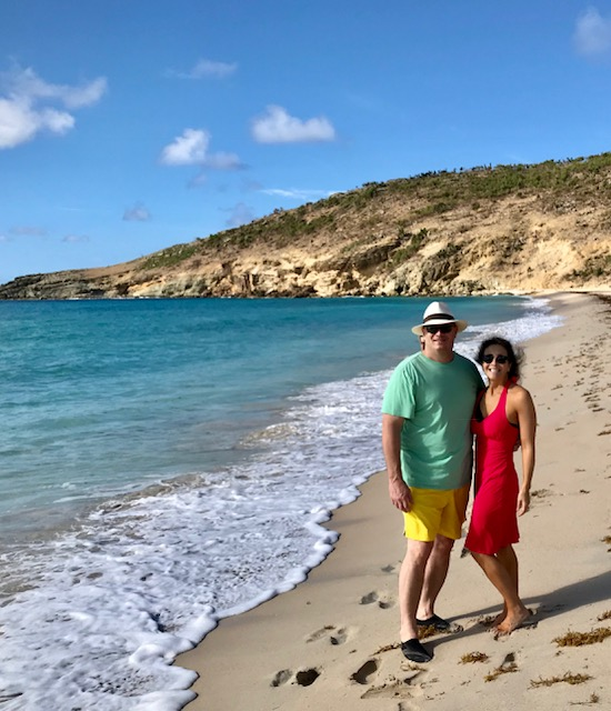 Saline Beach Saint Barth with couple