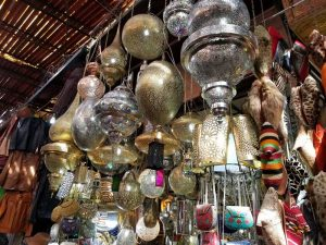 Lighting fixtures and leather jackets at the Marrakesh market