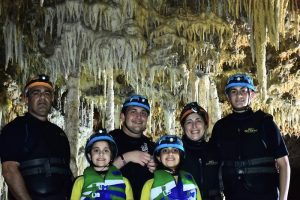 Smiling family on vacation, Riviera Maya Mexico