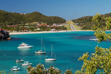 St. Barth runway, St. Jean beach and bay