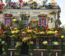 The Churchill Arms, London with flowers