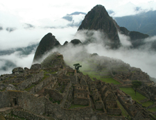 Machu Picchu emerges from clouds, Peru, Inca