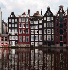 Canal houses, Amsterdam, canal, reflection