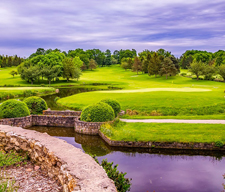beautiful golf course with river, landscape