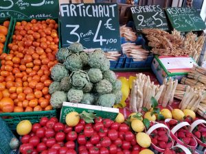 Colorful fruits and vegetables at French market